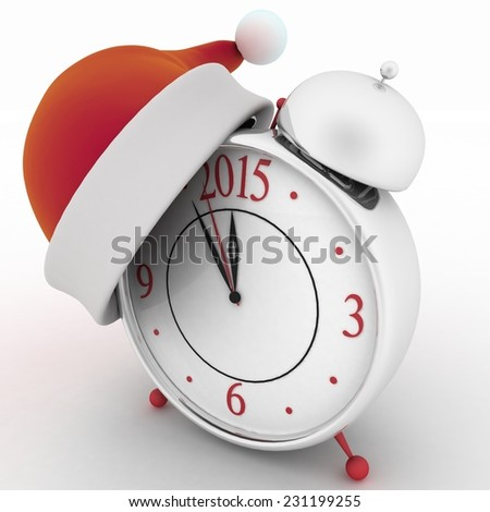 Alarm clock with christmas santa hat, 3d illustration on white background  - stock photo