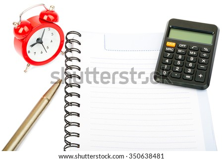 Alarm clock with copybook and calculator on isolated white background