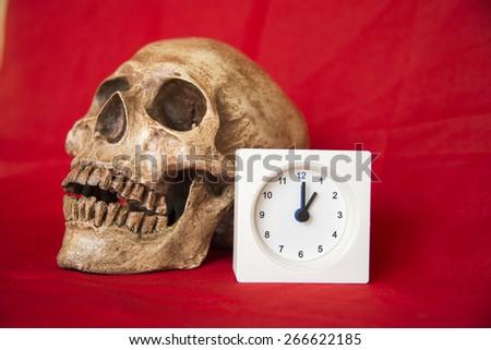 alarm clock with cranium  - stock photo