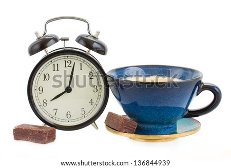 alarm clock with cup of coffee isolated on white background - stock photo