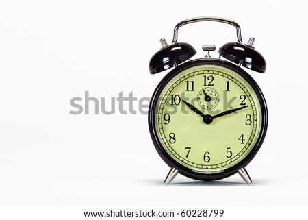 Alarm clock with look space on left side of image - stock photo