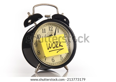 Alarm clock with sticky paper isolated on white background