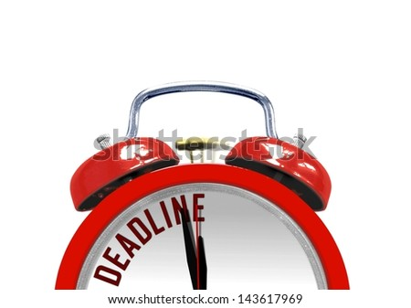 Alarm clock with the word Deadline on its face - stock photo
