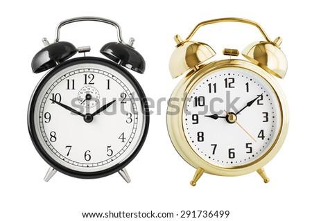 Alarm clocks set isolated  - stock photo