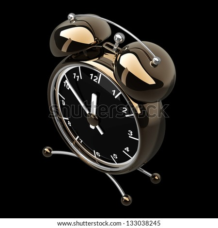 Alarm Golden clock isolated on a black background. High resolution 3d render - stock photo