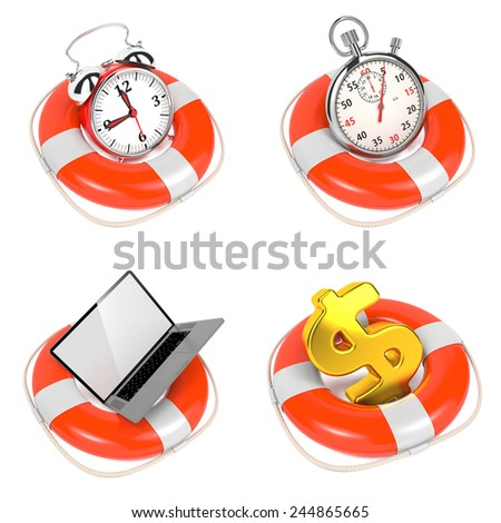 Alarmclock in Lifebuoy on White Background. Save the time concept. - stock photo