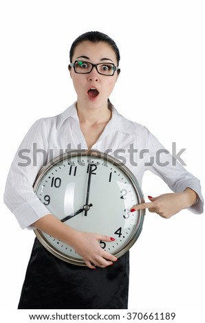 Alarmed, shocked business woman holding a large clock. White isolated background - stock photo