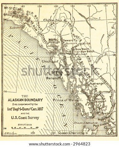 Alaska/Canada border dispute as published in Century Illustrated Magazine of July, 1891.