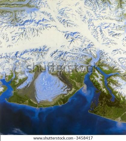 Alaska glacier from space - stock photo