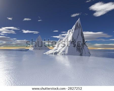 Alaska glaciers with water reflection - stock photo