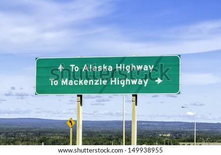 Alaska Highway road sign - stock photo