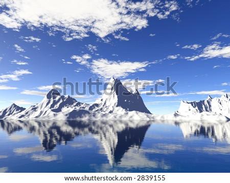 Alaska iceberg with water reflection - stock photo