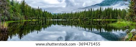 Alaska Juneau Lake near Mendhenall Glacier huge panorama - stock photo