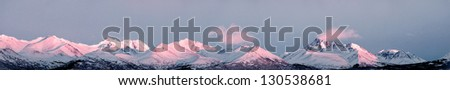 Alaska mountain peak panorama - stock photo