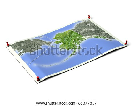 Alaska on unfolded map sheet with thumbtacks. Map colored according to vegetation, with borders. Includes clip path for the background.
