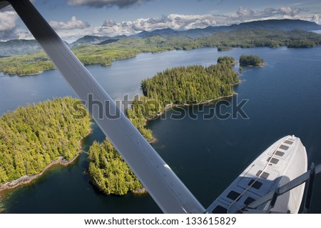 Alaska Prince of Wales island aerial view from float plane - stock photo
