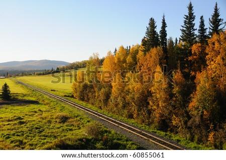 Alaska Railroad in the Fall - stock photo