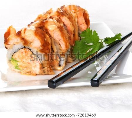 Alaska roll sushi with salmon - stock photo