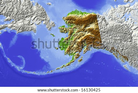 Alaska. Shaded relief map, with major  rivers, surrounding territory greyed out. Colored according to elevation. Clipping path for the state area included. Data source: NASA - stock photo
