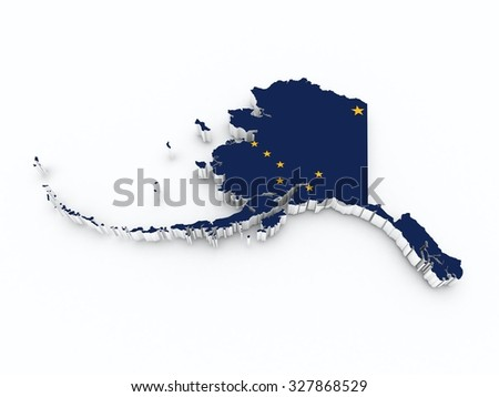 alaska state flag on 3d map