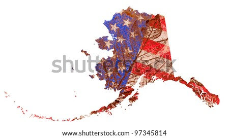 Alaska state of the United States of America in grunge flag pattern isolated on white background - stock photo
