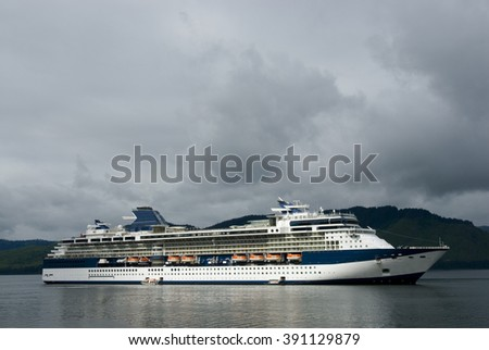 Alaskan cruise ship destination vacation  - stock photo