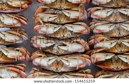 Alaskan Dungeness crabs at the Pike Place Market in Seattle, Washington - stock photo