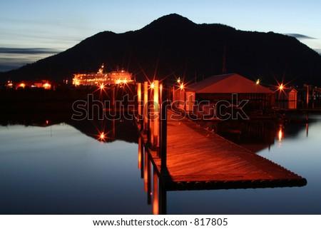 Alaskan evening at the harbor - stock photo