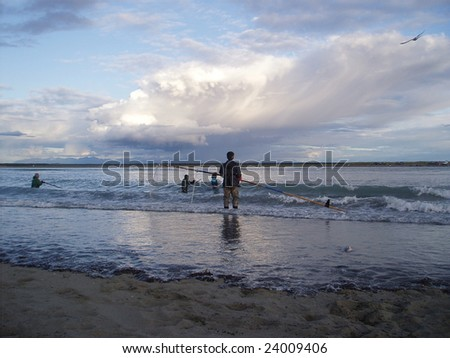 Alaskan Native Dipnetting for Salmon - stock photo