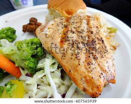 Alaskan Salmon Bake with broccoli and vegetables, Juneau, Alaska, USA