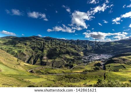 Alausi, a little city. Ecuadorian Andes - stock photo