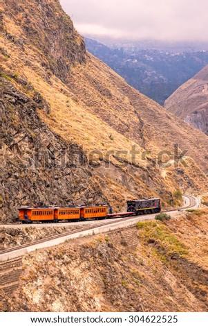 Alausi, Chimborazo, Ecuador, August 12, 2011, Train ride,  Devil's Nose, Nariz Del Diablo, Ecuador, south America, the most difficult railway in the world - stock photo