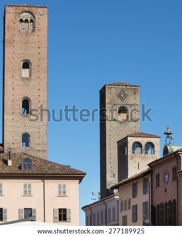 Alba (Cuneo, Italy): old buildings from the cathedral