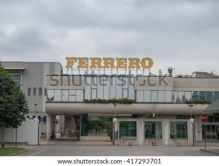 Alba, Italy, May 4, 2016, Ferrero Rocher premium specialties chocolate factory is in the Piedmonte city of Alba - stock photo