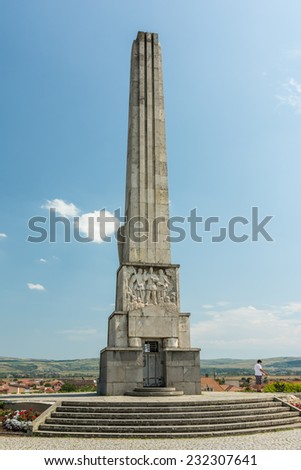 ALBA IULIA, ROMANIA - AUGUST 20, 2014: Obelisk Of Horea, Closca And Crisan In Carolina White Fortress Built In 1937 In The Memory Of The 1785 Uprising Of The Peasants.