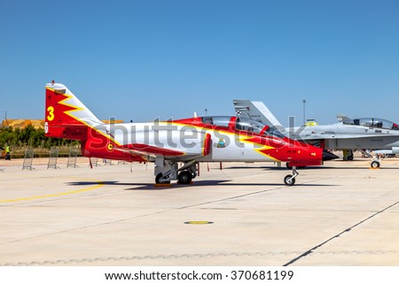 ALBACETE, SPAIN-JUN 23:  Aircraft CASA C-101 taking part in a static exhibition on the open day of the airbase of Los Llanos on Jun 23, 2013, in Albacete, Spain - stock photo
