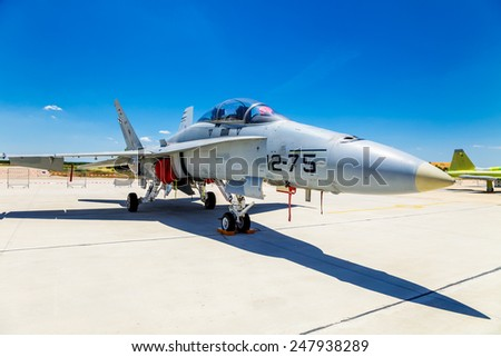 ALBACETE, SPAIN-JUN 23: Aircraft McDonnell Douglas F/A-18 Hornet taking part in a static exhibition on the open day of the airbase of Los Llanos on Jun 23, 2013, in Albacete, Spain - stock photo