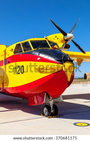ALBACETE, SPAIN-JUN 23: Seaplane Canadair CL-215 taking part in a static exhibition on the open day of the airbase of Los Llanos on Jun 23, 2013, in Albacete, Spain - stock photo