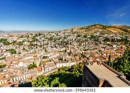 Albaicin (Old Muslim quarter) district of Granada seen from  Alhambra - stock photo