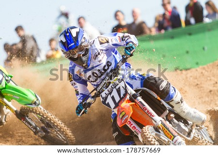 ALBAIDA, SPAIN - FEBRUARY 23: An unidentified rider of motorcycling in the Spanish championship of motocross on February 23, 2014, Albaida, Spain