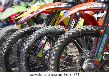 ALBAIDA, SPAIN - FEBRUARY 26: Detail of tires in the Spanish championship of motocross on February 26, 2012, Albaida, Spain - stock photo