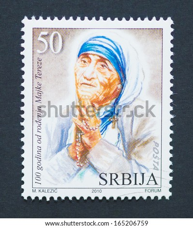 ALBANIA - CIRCA 2010: a postage stamp printed in Albania showing an image of Nobel Peace Prize winner Mother Teresa, circa 2010. - stock photo
