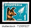 ALBANIA - CIRCA 1957: A stamp printed in Albania showing first animal in space - the dog Laika, circa 1957 - stock photo