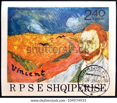 ALBANIA - CIRCA 1990: A stamp printed in Albania shows the work: Wheatfield with Crows and self-portrait of Vincent Van Gogh, circa 1990 - stock photo