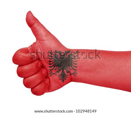 Albania flag on thumb up gesture like icon - stock photo