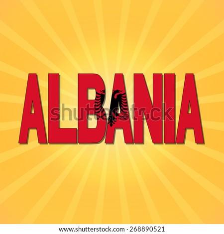 Albania flag text with sunburst illustration - stock photo