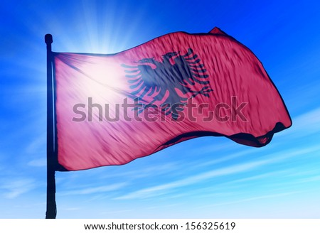 Albania flag waving on the wind - stock photo
