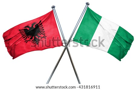 Albania flag with Nigeria flag, 3D rendering