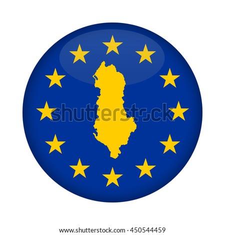 Albania map on a European Union flag button isolated on a white background. - stock photo