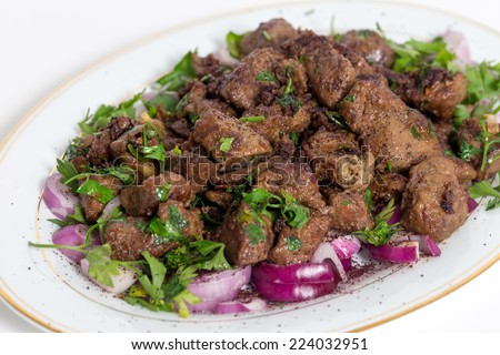 Albanian Liver, a traditional Turkish spiced lamb's liver recipe popular throughout the Middle East